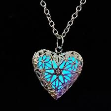 charm drop necklace images Fashion glow in the dark cute magic pretty round heart locket long jpg