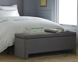 bedroom modern and simple gray canvas fabric upholstered bench