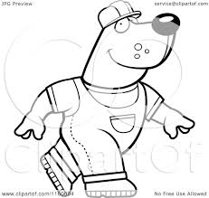 cartoon clipart of a black and white construction bear walking