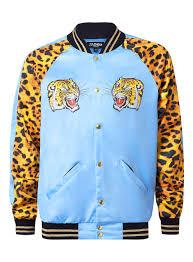 jaded blue and leopard tiger print bomber jacket topman