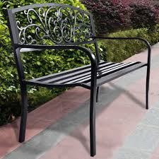 Metal Garden Chairs Images On Captivating Wrought Iron Bench Seat For Black Metal