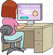 a woman editing her online dating profile on a desktop computer
