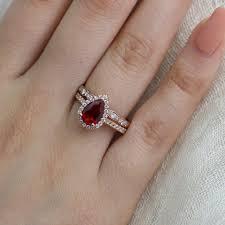 scalloped wedding band bridal set pear ruby engagement ring scalloped diamond wedding