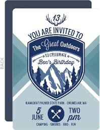 great outdoors camping birthday party invitation kids birthday