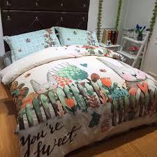 supple cotton kids bedding set queen size cartoon printed pattern
