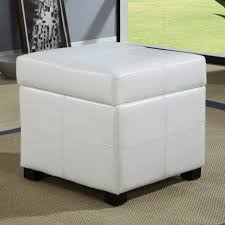White Leather Storage Ottoman Living Room Grey Leather Ottoman Large Fabric Storage