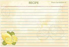 old fashioned recipe card template lemons stock vector art