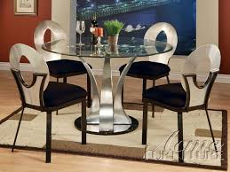 cady 5 piece glass u0026 metal dining table set by acme 10095