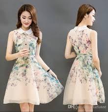 rcheap clothes for women 2018 high waist floral women office dress doll collar