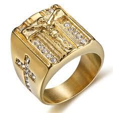 religious rings mimeng gold filled titanium jesus cross ring classic religious