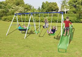 sportspower outdoor play set with saucer swing
