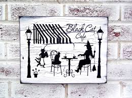black cat cafe halloween decoration halloween signs witch sign