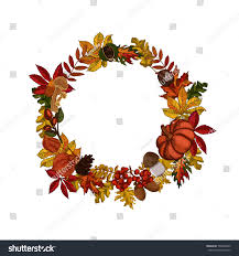 autumn leaves wreath template on white stock vector 730046209