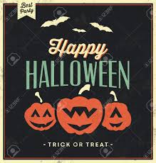 happy halloween sign with pumpkins vintage template retro