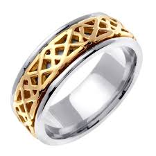 celtic wedding band wedding band 14k gold saighead or two tone ring