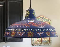Mexican Pendant Lights Mexican Talavera Tile Necklace Colors Of Yellow