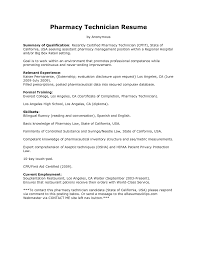 Examples Of Professional Summary For Resume Sample Of Pharmacy Technician Resume Resume For Your Job Application
