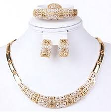 gold necklace bracelet earrings set images Fashion jewelry set women 18k gold plated necklace jpg