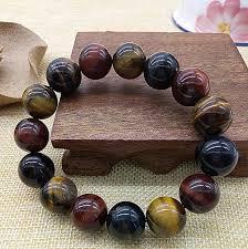 multi color stone bracelet images Natural tiger eye bracelet 14mm beads bracelet accessories multi jpg