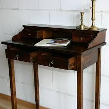 Schreibtisch Klein Holz Sekretär 75x91x40cm 4 Schubladen Pappel Massiv Nussbaumfarben
