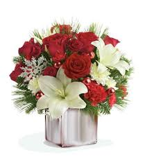 decoration flowers christmas flower decoration with red roses and white lilies in