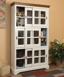 Antique White Bookcase With Doors Livingroom Bookshelf With Sliding Doors Shelves Antique Glass By