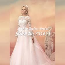 blush wedding dress with sleeves 2015 vintage blush pink sleeves bridal wedding dresses a line
