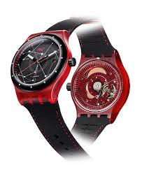 red swatch close up the 150 swiss mechanical swatch sistem51 watchtime