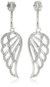 angel wing earrings 10k white gold diamond angel wing earrings 1 5 cttw