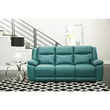 Turquoise Leather Sofa Abbyson Leyla Turquoise Top Grain Leather Reclining Sofa Free