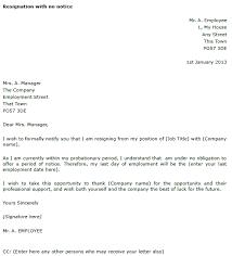 resignation letter format sample resignation letter no notice