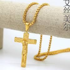jesus cross gold necklace images 100 18k gold plated jesus cross pendants high quality long cross jpg