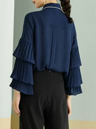 navy blue blouse navy blue girly pan collar blouse stylewe com