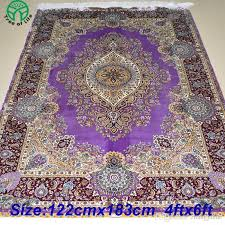 Commercial Grade Rugs Mingxin Carpet 4x6 Feet Purple Colour Hand Knotted Oriental