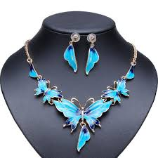 blue crystal necklace set images Gold plated oil drop butterfly crystal necklace earrings jewelry jpg