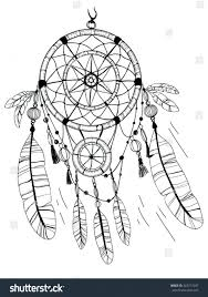 dream catcher coloring pages for adults sheets stock vector