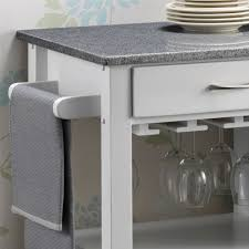 harrogate white painted hevea hardwood kitchen trolley island with