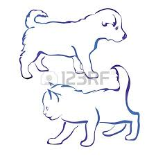 dog and cat silhouette vector illustration sketch royalty free