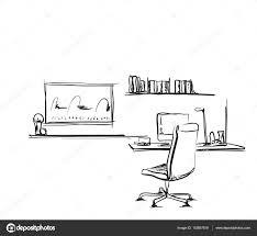 Schreibtisch Mit Computer Mit Einem Computer Oder Arbeitsplatz Im Büro Von Hand Gezeichnet