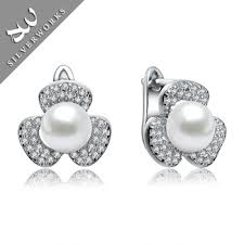 real earrings cheap real 925 italy silver earring jewelry white shell pearl
