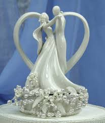 wedding figurines vintage pearl and heart wedding cake topper wedding cake