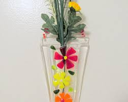 Wall Mounted Glass Flower Vases Fused Glass Wall Vase Fused Glass Flower Vase Wall Hanging