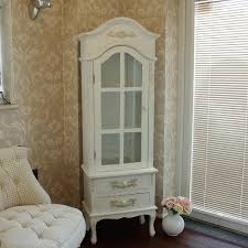 Ornate Display Cabinets White Tall Slim Glass Display Storage Cabinet Ornate Shabby French