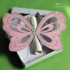 creative handmade pink butterfly wedding invitations with