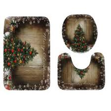 tree wood pattern 3 pcs toilet mat bath mat in colormix