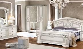 esf aida glossy white silver finish panel bedroom set 5pcs