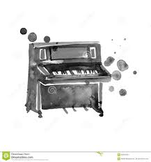 sketch watercolor piano on a white background stock illustration