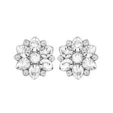 flower earrings swarovski celestial white flower earrings greed