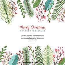 christmas background with watercolor leaves vector free download