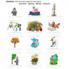 classifying seasons worksheet pictures